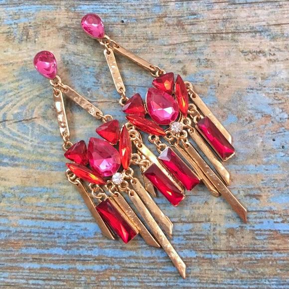 Jewelry - Hammered Gold Chandelier Earrings